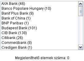 Válassza ki, hogy mely bankok bankfiókjait kívánja megjeleníteni a térképen!